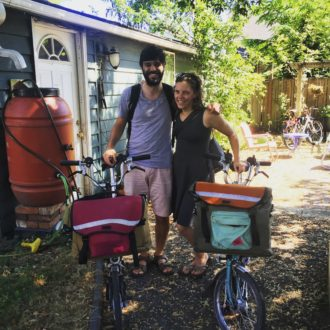 Ready to bike to light rail to start our trip. Bromptons with Gilman bags by (SBB sponsor) Swift Industries are incredible multimodal travel machines.