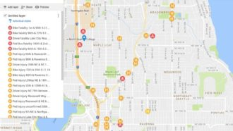 Snapshot of recent traffic deaths and serious injuries in NE Seattle, from SNG.