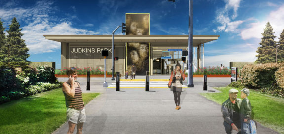 Concept image facing west from the I-90 Trail at 23rd Ave. The bike cage is located behind the station name.