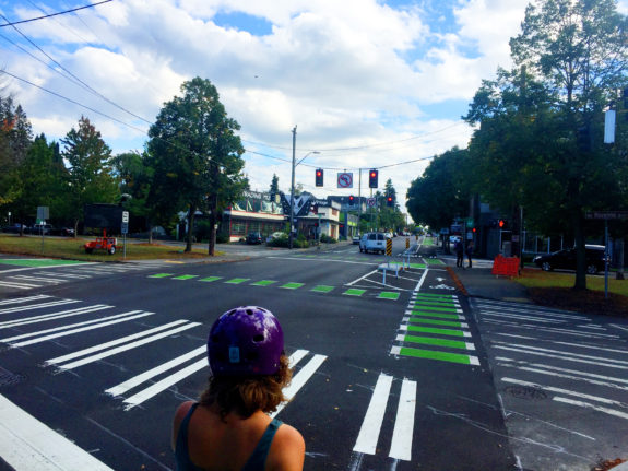 The Roosevelt bike lane intersects with the Ravenna Blvd bike lanes.