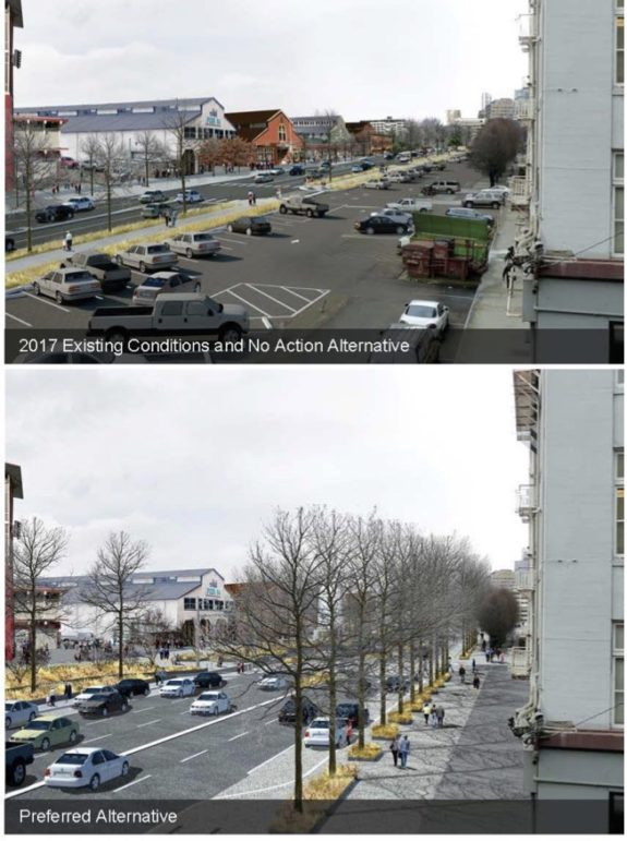 "The ""no action"" image looks north from Marion as it would be today if the Viaduct were removed. The bottom image is what it would look like with the planned highway. There is a better way than either of these."