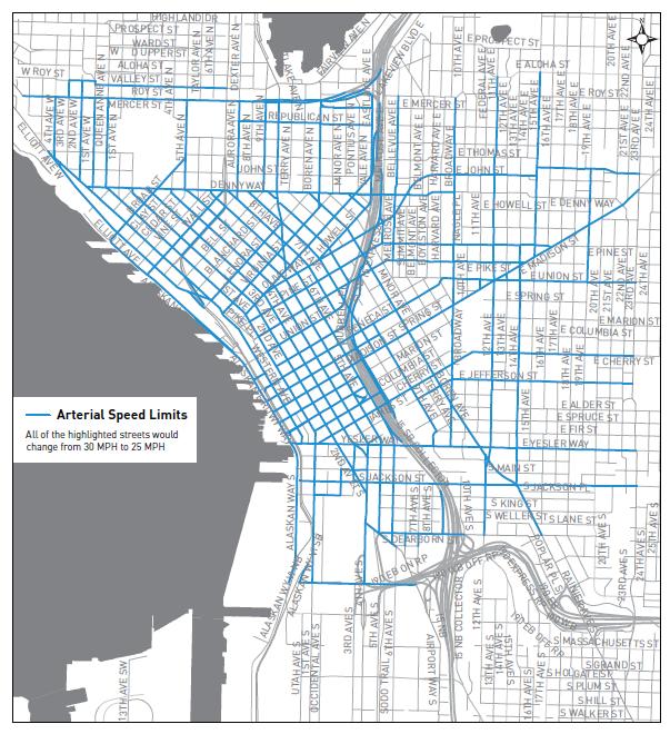Seattle Street Map arterial speed limit change map | Seattle Bike Blog Seattle Street Map