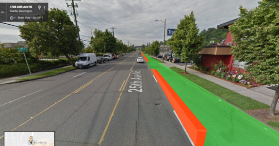 Rough outline of where a temporary trail on 25th Ave NE could go (not an actual design). Base image: Google Street View.