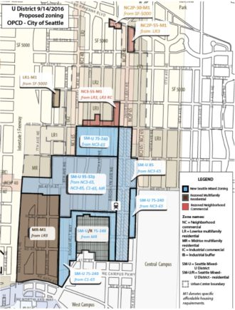 Map of the zoning changes, from a September briefing to Council.