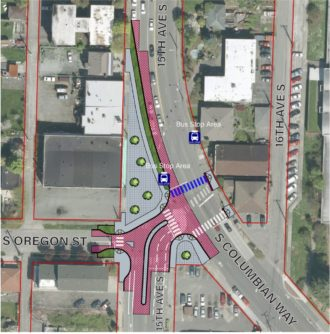 2016 top-down concept of the winning 15th and Columbian redesign, including shorter crosswalks and a pedestrian plaza.