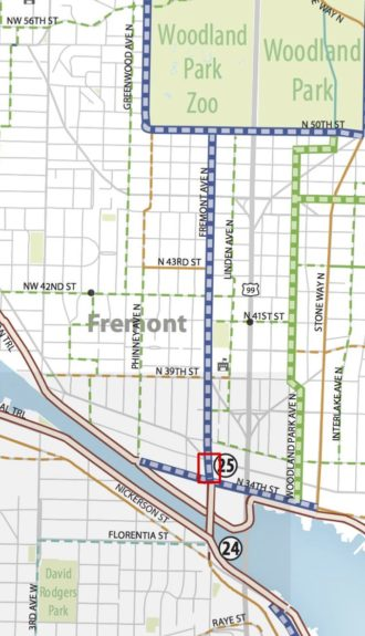 All bike routes lead to the Center of the Universe and this block of Fremont Ave. Image from the city's Bike Master Plan, calling for protected bike lanes. Red bock is the study area.