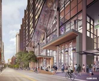 Concept image of Pine Street from the Convention Center Addition website. Decent start, but we can do better.