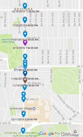 Injury collisions on 25th Ave NE (2013-2015). Explore the map by Andres Salomon based on SDOT data.