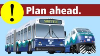 Graphic from Sound Transit. I hope the buses at least have spaces for a couple bikes...