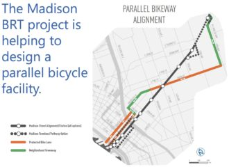 This slide is from a Madison BRT project team presentation to the Seattle Bicycle Advisory Board in June 2015 (PDF).