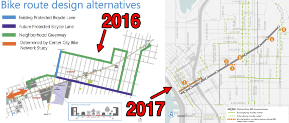 The bike route plans have been almost entirely deleted from the Madison BRT plans.