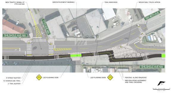 Design concept for the new rail crossing near the intersection of Shilshole and NW 45th Street.