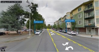 Concept image of the new 35th Ave NE design, with two parking lanes, two general purpose lanes and a center turn lane.