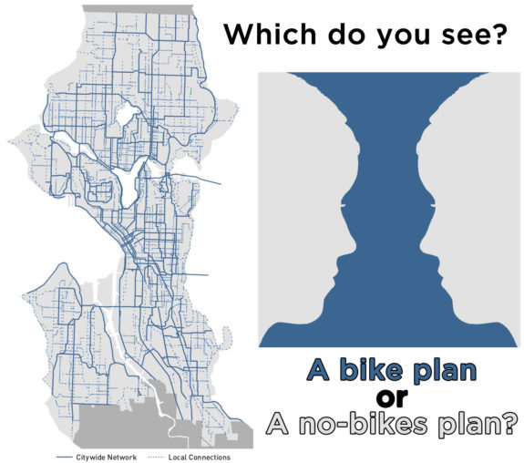 A map of the Seattle Bicycle Master Plan map next to an illusion in which people either see a vase or two faces depending on how you look at it. Text: Which do you see? A bike plan or a no-bikes plan?