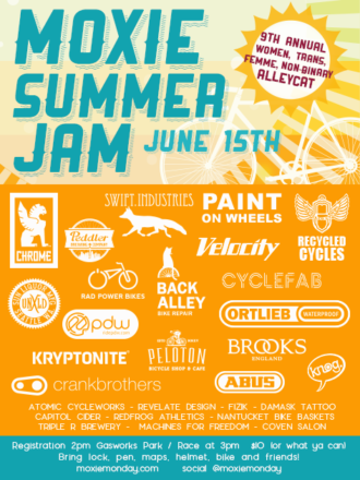 Poster image for Moxie Summer Jam. June 15. 9th Annual women, trans, femme, non-binary alleycat. Registration 2PM, Gasworks Park. Race at 3. $10