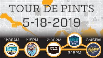 Poster text: Tour de Pints. 5-18-2019. Peddler Brewing 11:30AM. Flying Bike Co-op 1:15PM. Burke-Gilman Brewing 2:30 PM. Floating Bridge Brewing 3:15PM. Rooftop Brew Co 3:45PM.