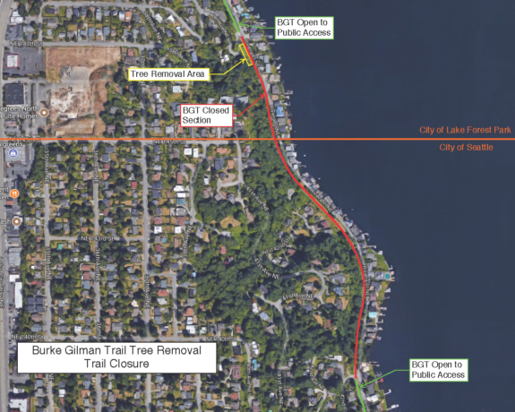 Map showing the Burke-Gilman Trail closure between about 40th Ave NE to 42nd Pl NE.