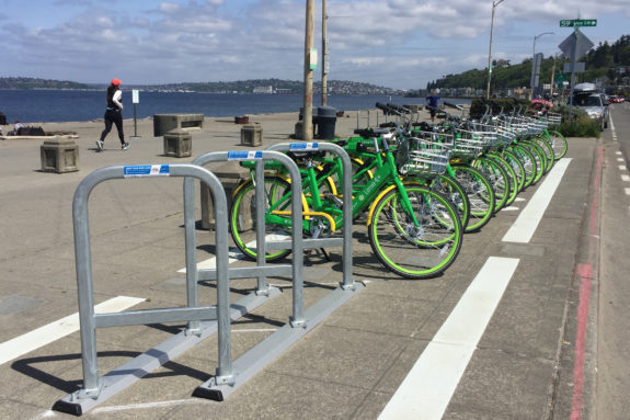 Next to Alki Beach, a new bike rack and designated bike parking area includes a line of Lime bikes all inside the designated white lines.