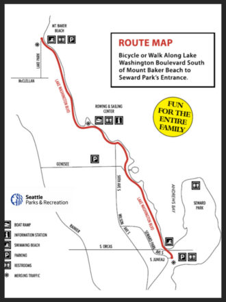 Map of the Bicycle Sunday route, which travels along Lake Washington Boulevard from Mount Baker beach to Seward Park. Text: Fun for the entire family.