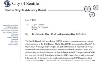 Screenshot of the Seattle Bicycle Advisory Board letter. The full text is copied below in this post.