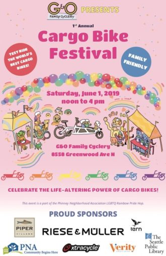Poster for the Cargo Bike Festival. Cartoon drawings of rainbows, balloons, and people celebrating near exhibition tables and cargo bikes. Text: Celebrating the life-altering power of cargo bikes!