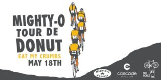 Poster text: Mighty-O Tour de Donut. Eat my crumbs. May 18th. Logos: Mighty-O Donuts, Cascade Bicycle Club and Bike Works