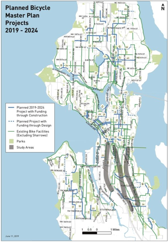 Map of Seattle showing existing and planned bike facilities.
