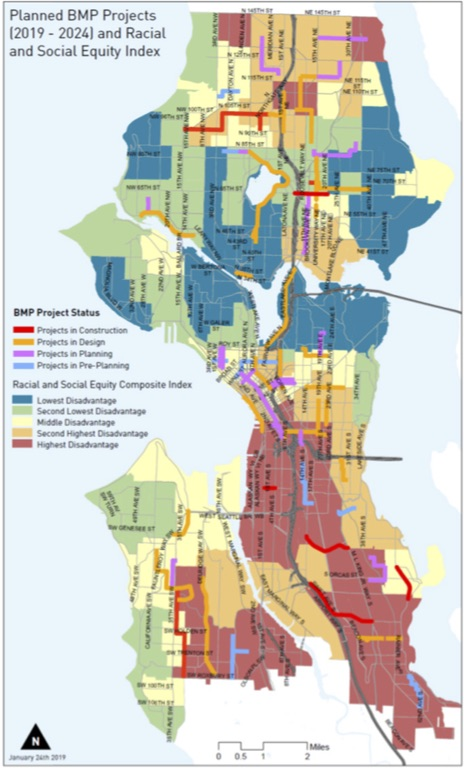 Map of planned bike network on top of the city's Race and Social Justice Initiative Composite Index.