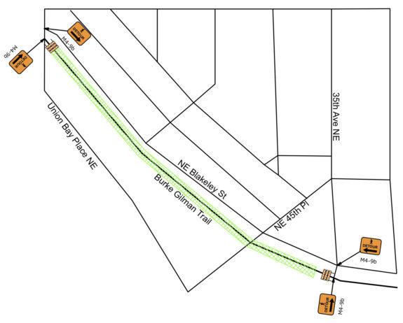 Map showing the trail will be detoured along NE Blakeley Street between 30th and 35th Avenues NE.