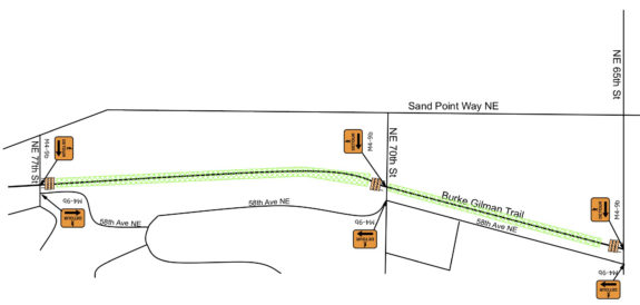 Map showing a detour along 58th Ave NE between NE 65th and 77th Streets