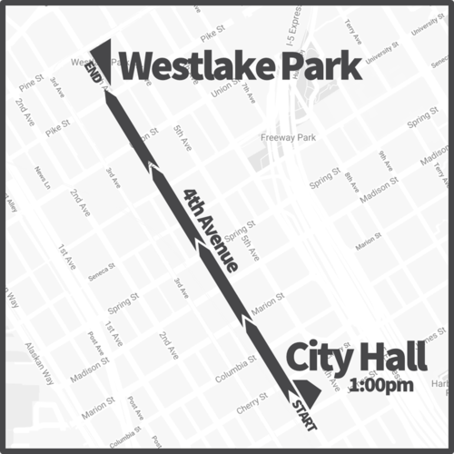 Map of the route, starting at Seattle City Hall at 1 p.m. then traveling on 4th Ave to Westlake Park,