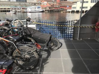 Photo from the deck of the water taxi showing how a long cargo bike can block the ramp.