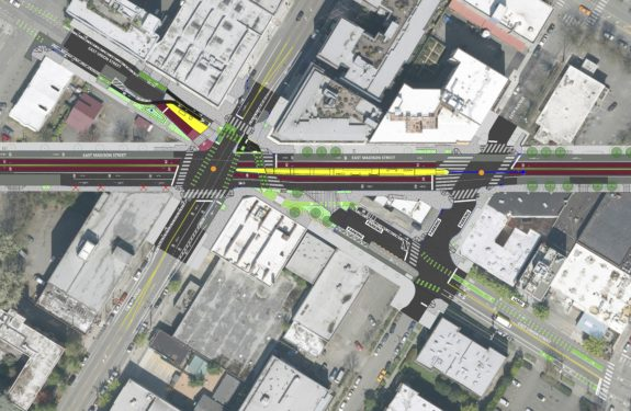Design concept layout for the Madison/Union/12th intersection.