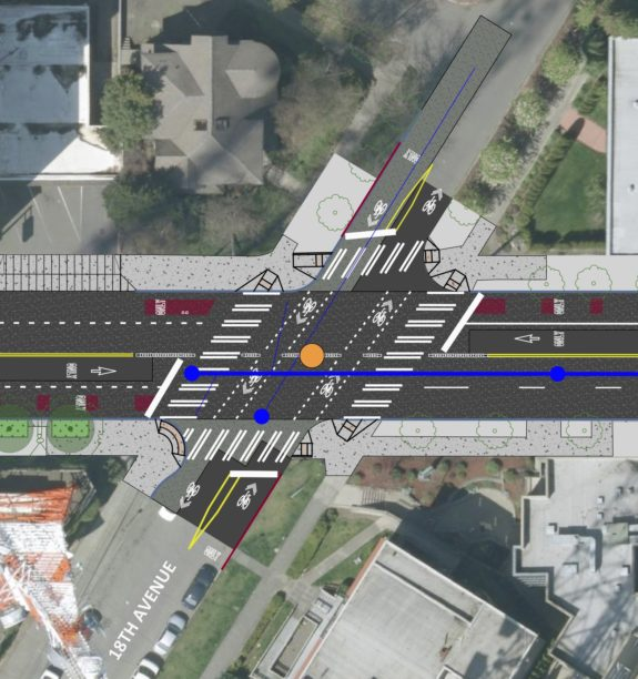 Design concept for Madison and 18th Ave includes a new traffic signal.