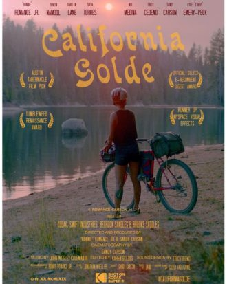 California Golde film poster. Photo of someone standing with a bike looking out across a river.