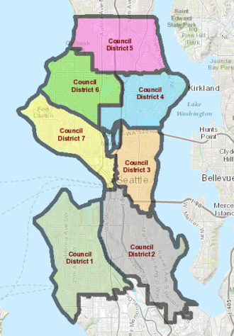 Seattle City Council Districts map.