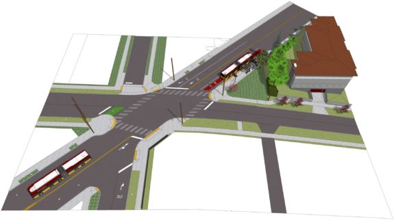 Rendering of the Madison/24th/E John intersection.