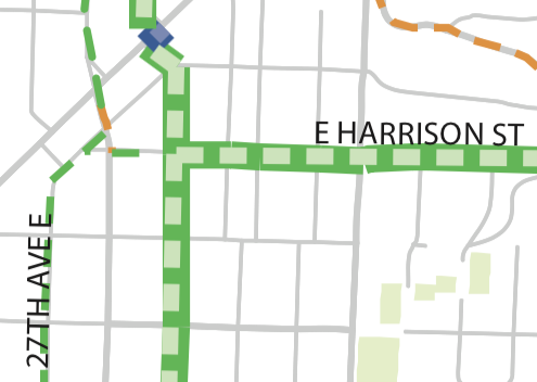 Excerpt from the Bicycle Master Plan map showing this area.