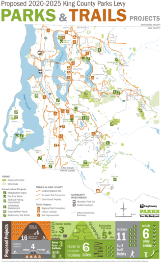 Map of the King County Parks Levy projects.