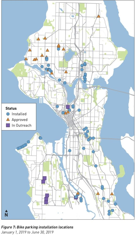 Map of 2019 bike parking installation locations.