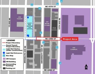 Map of the project area with NE 43rd Street highlighted.
