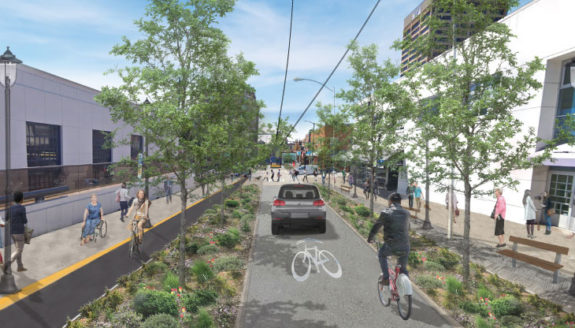 SDOT's concept image, showing a protected bike lane eastbound and a shared lane westbound. Each lane is separated by greenery.