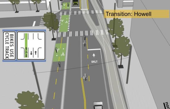 Concept image showing bicycle turn lane at Howell St