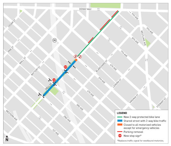 Map of the Bell Street bike route plan, showing protected bike lanes between Denny Way and 5th Ave, and two-way biking between 2nd and 5th. It also shows new traffic controls at intersections for drivers.