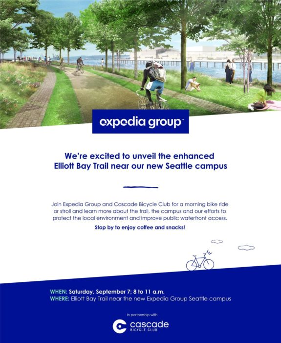 Trail opening celebration flyer from Expedia. Text is quoted later in this post.