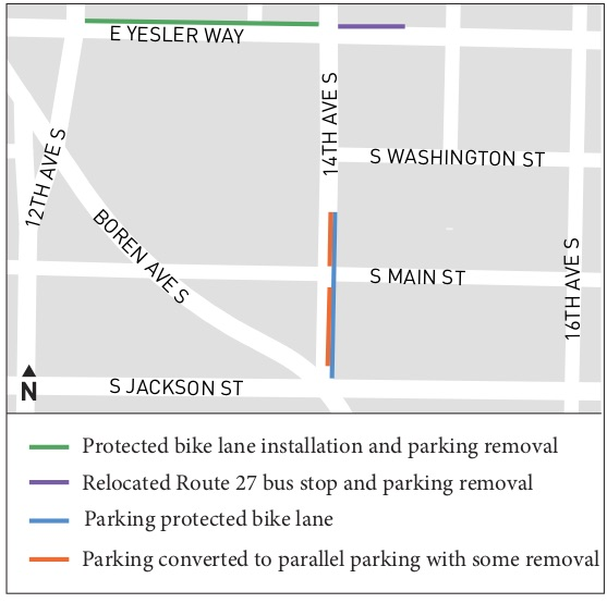 Map of the changes showing new protected bike lanes on Yesler Way between 14th and 12th Avenues and on 14th Ave between Jackson and Washington Streets.