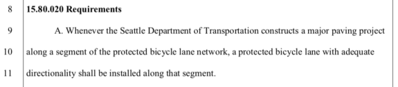 Screenshot text: 15.80.020 Requirements A. Whenever the Seattle Department of Transportation constructs a major paving project along a segment of the protected bicycle lane network, a protected bicycle lane with adequate directionality shall be installed along that segment.