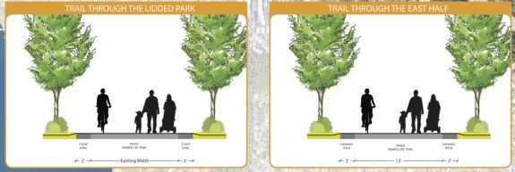 Concept images showing that the trail would remain its current width through the lid park with a two-foot soft buffer on each side. East of the town center, the trail would be 12 feet wide plus two-foot buffers on each side.