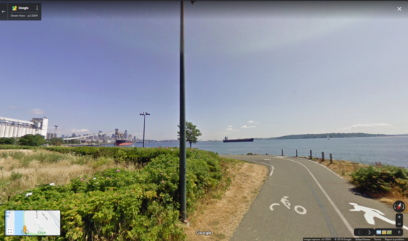 Google Street View image from 2009 shows the sharp curve in the old path.