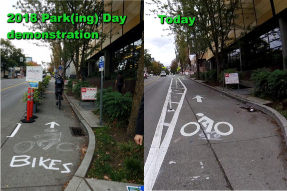 Two photos from the same place next to the Northwest School on Pike. The left one depicts the demonstration bike lane from Park(ing) Day 2018 with cones and little plants as a bike lane separator. A bike symbol is drawn with chalk on the ground. The right shows the bike lane today.